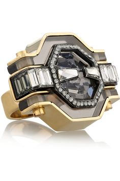 Lanvin | Marie-Laure gold-tone, crystal and resin ring | NET-A-PORTER.COM