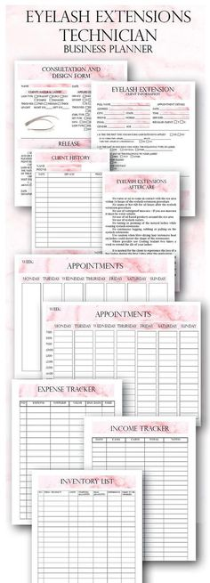 Pink Eyelash Extension Client Forms, Printable Client Information Form, Eyelash Consultation Form, Client Eyelash Design WHATS INCLUDED: ► Eyelash Extension Client Information ► Consultation And Design Form - Release on the bottom of the page ► Client History Card ► Aftercare Card ► Income Tracker ► Expense Tracker ► Inventory List ► Appointments ► Services List - editable FORMAT: ►The files are in PDF, they come in a ZIP. SIZES: ► Pages: US Letter (8.5 x 11 in) ► Card designs: Half Lette...