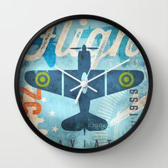 Flight+airplane+artwork+by+Stephen+Fowler+Gemini+Studio+Kids+Wall+Clock+by+gemini+studio+art+by+Stephen+Fowler+-+$30.00