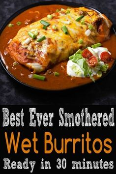 These beef and bean wet burritos are smothered with red sauc.- These beef and bean wet burritos are smothered with red sauce and melted cheese. These beef and bean wet burritos are smothered with red sauce and melted cheese. Healthy Recipes, Healthy Meals, Easy Meals, Cooking Recipes, Latin Food Recipes, Best Food Recipes, Easy Mexican Food Recipes, Freezer Recipes, Bariatric Recipes