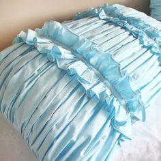 Blue Ruffle Ruching Pillow Sham Luxury. ◅