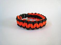 Paracord bracelet orange black men kids unisex by stamparacord