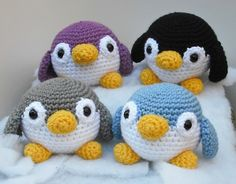four colorful, roly-poly penguins - pattern by Lion Brand yarn