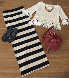 #ootd - All ready for #coachella Music Festival in Freepeople Accessorized with Nakamol Chicago necklace , Tory Burch wedge flip flop, LIEBESKIND BERLIN handbag #summer #musicfestival #coachella #maxiskirt #fringe #croptop #shopfayes #shoplocal