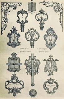 french rococo decorative keyholes and key handles