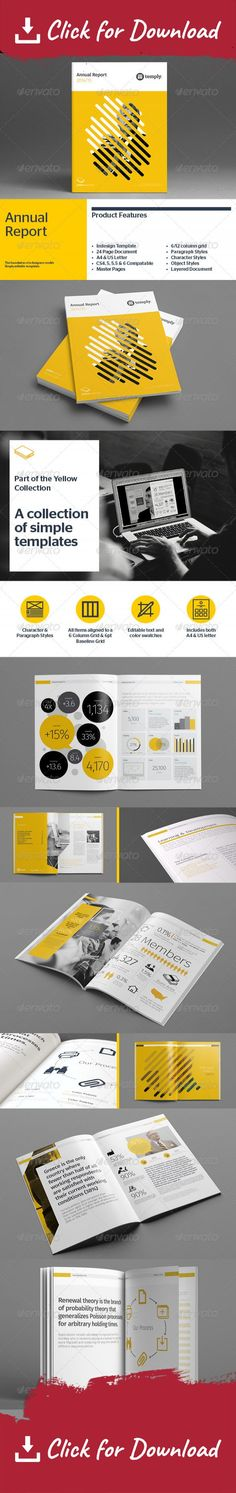 An annual report is a comprehensive report on a company's activities throughout the preceding year. Annual reports are intended to give shareholders and other interested people information about the company's activities and financial performance. This product includes  26pp Indesign Document 2 sizes: A4 & US letter Compatible with Adobe Indesign CS4, CS5, CS5.5 & CS6 Includes .IDML file Vector infographics Tables (Quote & Sign-off) Paragraph and Character Styles Edit brand c...