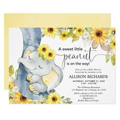 Gender neutral elephant baby shower sunflowers invitation - tap to personalize and get yours #invitation  #floral #watercolors #elephant #baby #shower Baby Shower Themes Neutral, Baby Shower Yellow, Baby Shower Fall, Baby Yellow, Fall Baby, Floral Baby Shower, Baby Boy Shower, Unique Baby Shower Themes, Elephant Baby Showers