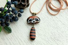 birthday gift, stone jewelry, necklace, hand painted, fine art, natural stone, necklaces, pendants, raccoon with big tail