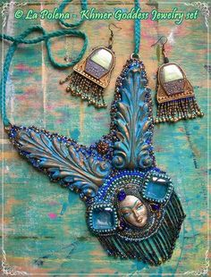 https://flic.kr/p/PpS51C | Khmer Goddess jewelry set | Hand made Venetian mask jewelry by La Polena. Recycled old belt buckles as earrings. hand beaded necklace with Mask Type A and glass cubes.