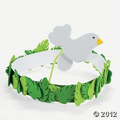 Palm And Dove Headband Craft Kit, Hats & Masks, Crafts for Kids, Craft & Hobby Supplies - Oriental Trading Bible School Crafts, Sunday School Crafts, Bible Crafts, Crown Crafts, Headband Crafts, Bible Lessons For Kids, Bible For Kids, Noahs Ark Craft, Noah's Ark Bible
