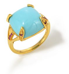 Summer is here... New at Aviva Rose Jewelry - Turquoise and Ruby Cabochon Ring in 18k Yellow Gold Vermeil. Visit www.avivarosejewelry.com