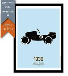 #voiture à pédales #retro  #affiche #enfant #retro  #chambreenfant #deco