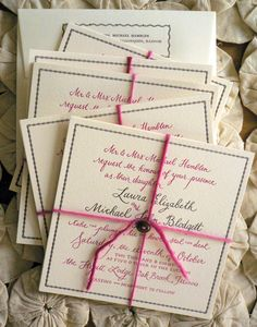 Yarn and button on custom stationery by Bird and Banner #stationery #handmade #wedding