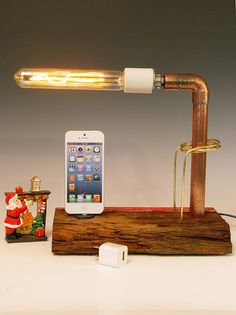 iPhone dock AND table lamp. Recycled wood & copper pipes. Edison bulb. USB wall charger. Hi/Low dimmer. (313). $115.00, via Etsy.