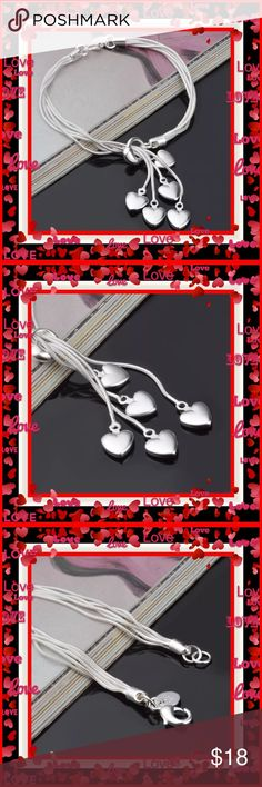 "🌺🌴🌺 BEAUTIFUL STERLING SILVER BRACELET 🌺🌴🌺 🌺🌴🌺  NWOT:  This gorgeous silver bracelet has the .925 silver mark and the silver has such a nice quality feel to it.  There are 5 silver hearts and of course 5 silver chains.  So pretty and so feminine.  This would make a great gift for any occasion even as bridesmaid  gifts.   Bracelet is 7 1/2"" but a non silver extension chain could be added.  No charge.  Comes in a velvet drawstring pouch and a nice handmade box. 🌺🌴🌺 Jewelry…"