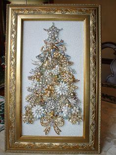 Large vintage rhinestone jewelry framed christmas tree birds angels