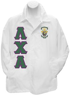 White Lambda Chi Alpha crossing jacket with the crest on the left breast and the Greek letters down the right.