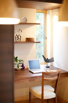 A little office nook with a window! Minimalist House Design, Tiny House Design, Minimalist Home, Japanese Interior Design, Office Nook, Japanese House, Japanese Style, Best Interior, House Rooms