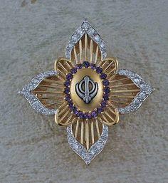 Diamond amethyst elegant adi shakti pin pendant – The Khalsa Raj Collection