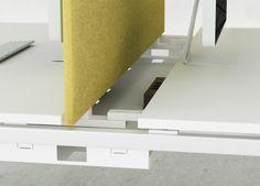 Smart office desks wiring solution with sliding desktop | Desking system NOVA U Slide | Narbutas