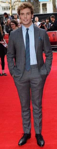 British actor Sam Claflin wearing Burberry tailoring to the opening night of The Quiet Ones in London
