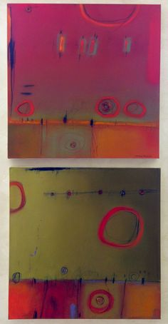 """two pieces from Carlene Frances' """"Blurring the Line"""" series Rembrandt Yard Art Gallery, Boulder, CO"""