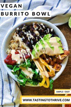 Easy Vegan Lunch, Vegan Lunches, Vegan Meal Prep, Vegan Dinner Recipes, Vegan Recipes Easy, Lunch Recipes, Vegan Ideas, Veggie Recipes, Vegan Burrito Bowls