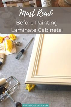 We share all of the tips and tricks that we learned along the way during our Rust-Oleum Cabinet Transformation. Do not make the same mistakes that we did while painting laminate cabinets! Painting Laminate Kitchen Cabinets, White Kitchen Cabinets, Painting Cabinets, Best Paint Sprayer, Foam Paint, Cabinet Transformations, Do It Yourself Food, Painted Trays, Hand Painted