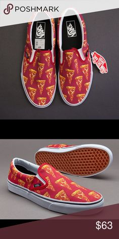 30fb3d2be3 Vans (Late Night) Mars Red  Pizza M W 12 New New in Box! Super Unique and  Rare! Vans Classic Slip on in a Pizza Print! Men s size also a Women s size  Vans ...