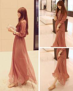 Stylish V-Neck Long Sleeve Chiffon Women's Maxi Dress, RED, M in Chiffon Dresses | DressLily.com
