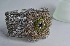 Hand Crochet Wire Flower Bracelet by PrayerMonkey by PrayerMonkey, $25.00