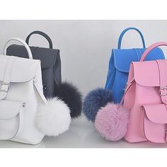 Grafea Leather Backpacks with Pom-Poms