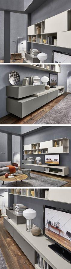 Die Hochwertige Livitalia Design Wohnwand C16 Ist Modern Mit Offenen Und  Geschlossenen Fächern. #Wohnwand
