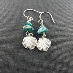 Seashell Earrings/Silver Boho earrings/Silver Earrings with turquoise beads/Drop Earrings/Boho Jewelry/Seashell jewelry/Nautical jewelry