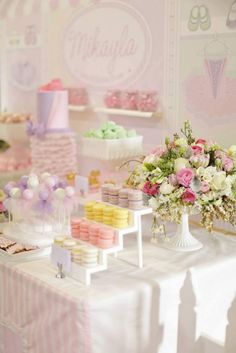 Pretty dessert table with pastels and flowers