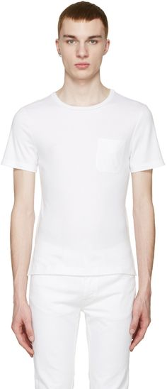 MAISON MARTIN MARGIELA White Pocket T-Shirt. #maisonmartinmargiela #cloth #t-shirt