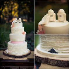 "I wouldn't want starwars on my cake, but I love that there is a personal touching ""peeking"" out of the back of the cake. I would love my cake designer to do that at my wedding"
