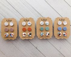 Terrazzo and marble stud earrings multi pack - Your choice of taupe, terracotta, sage, or periwinkle - Handmade polymer clay studs Polymer Clay Beads, Polymer Clay Crafts, Handmade Polymer Clay, Polymer Clay Bracelet, Diy Clay Earrings, Stud Earrings, Unique Earrings, Crystal Earrings, Crea Fimo