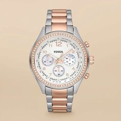Two-toned silver/rose gold watch
