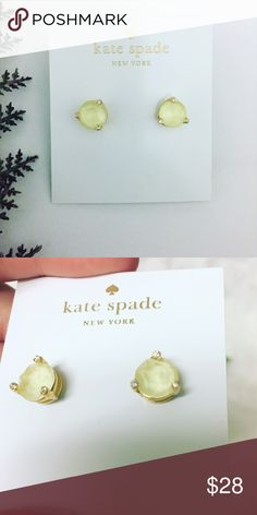 Kate Spade Crystal Earrings Authentic Kate Spade earrings featuring light yellow crystal centers and clear crystals topping each of the three prongs.   Don't forget to shop my closet for a bundle discount! kate spade Jewelry Earrings