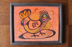 Original, 8 x 10 mixed media painting of a bird, titled Oiseau Rouge and signed by the listed artist, Forrest Hibbits