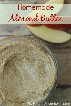 Homemade Almond Butter Recipe-- so easy and so delicious!  Much healthier alternative to PB & delicious on toast or with apples. Bellini Recipe, Homemade Butter, Ketchup, Healthy Snacks, Healthy Recipes, Cooking Recipes, Free Recipes, Healthy Alternatives, Butter Recipe