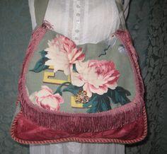 Gypsy Boho Bags and Purses,  Vintage Barkcloth Summer bag Bohemian Hippie Purse. $65.00, via Etsy.