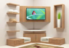 Buy Wonken TV Unit with Laminate Finish online in Bangalore. Shop now for modern & contemporary Living designs online. COD & EMI available. Corner Tv Shelves, Corner Tv Cabinets, Corner Tv Unit, Corner Wall, Corner Shelves Living Room, Corner Tv Stands, Tv Shelf, Modern Tv Unit Designs, Modern Tv Wall Units
