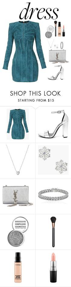 """""""dressy"""" by danaikac ❤ liked on Polyvore featuring Balmain, Steve Madden, Links of London, Talbots, Yves Saint Laurent, Apples & Figs, Obsessive Compulsive Cosmetics and MAC Cosmetics"""