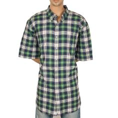 4XL Tall Ralph Lauren Classic Fit Plaid Shirt Pony Blue Green Yellow Big 4XLT #SomeLikeItUsed