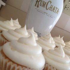 Rum Chata Cupcakes - These were really good. They did not take 20 min to bake. I checked at 18 min and they were done. Definitely only make 1/2 the frosting. An idea for alcohol free frosting would be cinnamon vanilla buttercream...or use this recipe and replace the rumchata with milk or cream, add more vanilla, and add cinnamon.