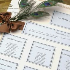 ribbon, pearls and peacock feather table plan www.bohemiandreams.co.uk