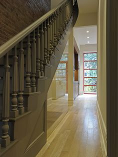 Paint Stairs. great neutral color that modernizes the traditional profile of the balusters. SW 6402 Antiquity
