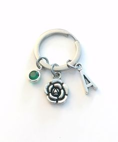 Mother's Day Gift for Mom, Flower Keychain, Rose Key Chain, Small Floral Keyring, Silver Peony Jewelry Initial Birthstone Mommy pearl by aJoyfulSurprise on Etsy Mother Day Gifts, Gifts For Mom, Personalized Charms, Birthstone Charms, Initial Charm, Silver Flowers, Mother Pearl, Key Chains, Flower Necklace